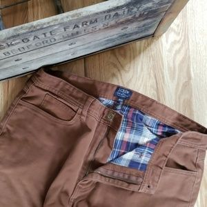 J.CREW The Sutton Brown Flannel Lined Pants 34x32